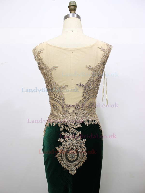 Trumpet/Mermaid Dark Green Tulle Velvet with Appliques Lace Newest Prom Dress #LDB020100557