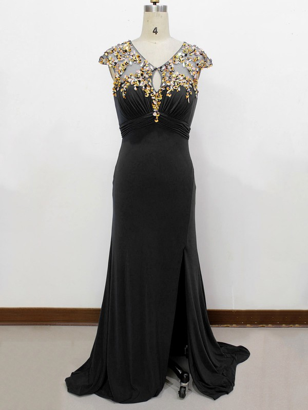 Best Elastic Woven Satin Split Front Scoop Neck Sheath/Column Black Prom Dress #LDB020100560
