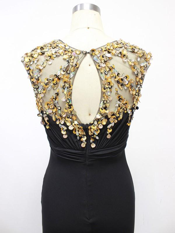Best Elastic Woven Satin Split Front Scoop Neck Sheath/Column Black Prom Dress #LDB020100560