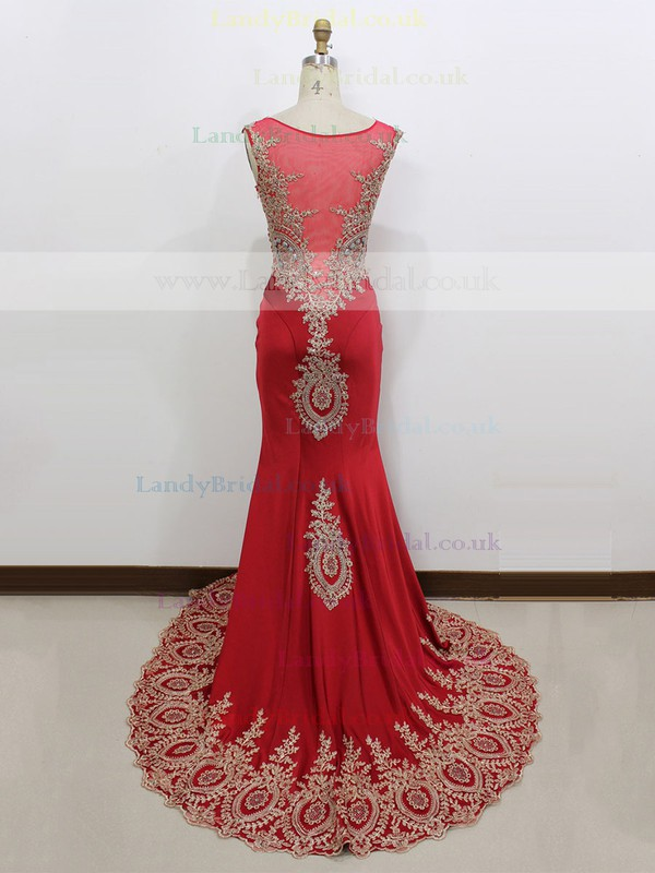 Scoop Neck Satin Appliques Lace Gorgeous Red Trumpet/Mermaid Prom Dress #LDB020100561